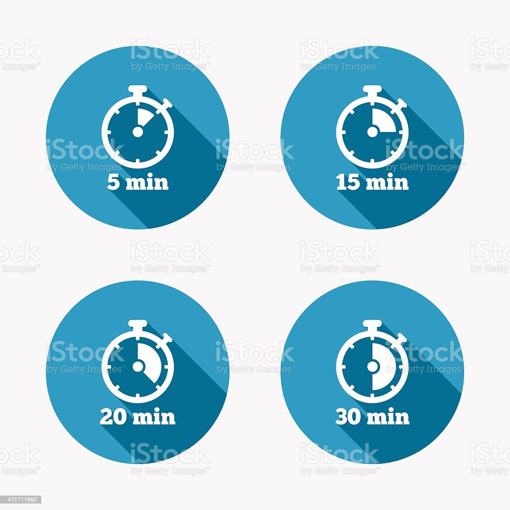 Timer icons. Five minutes stopwatch symbol vector art illustration