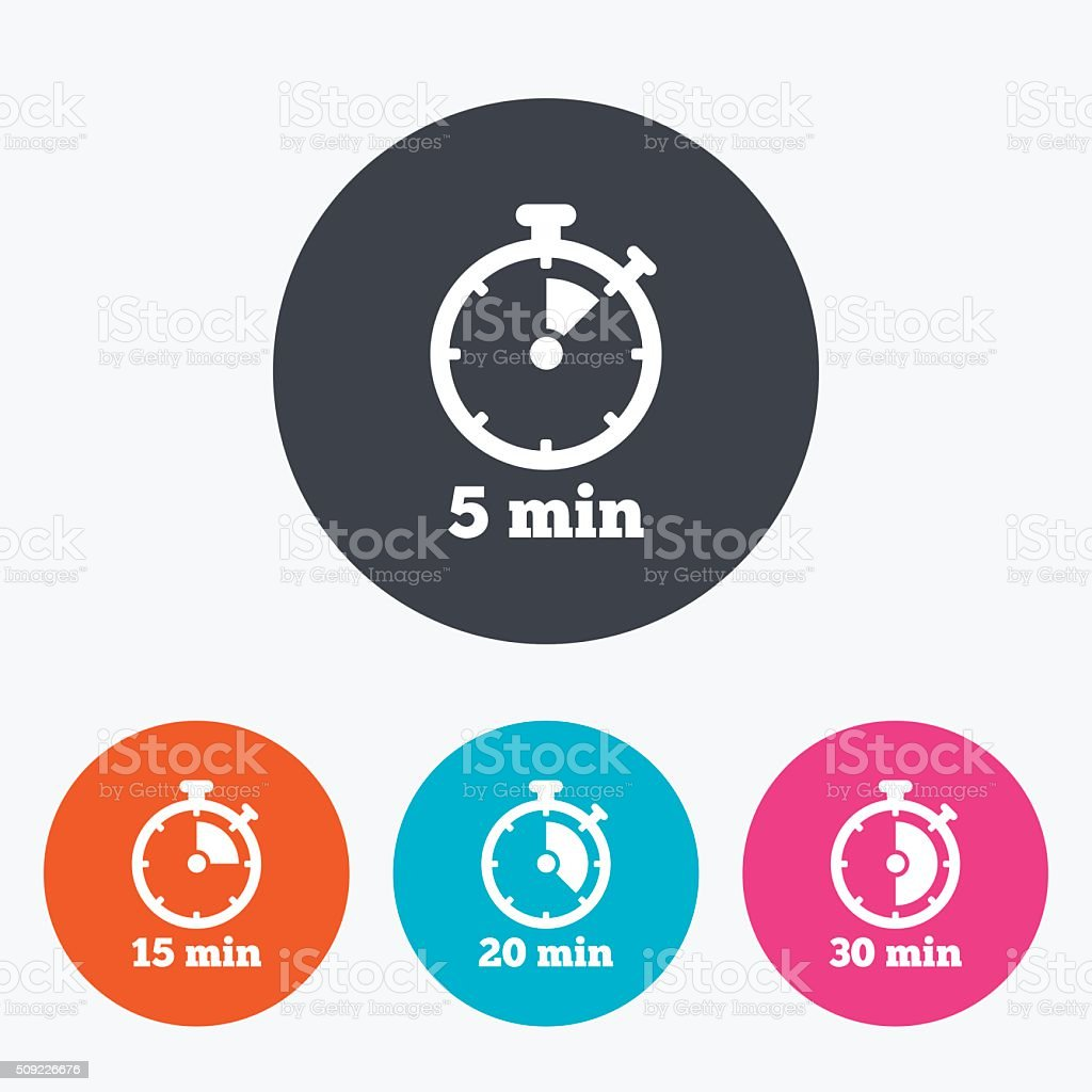 Timer icons. Five minutes stopwatch symbol. vector art illustration