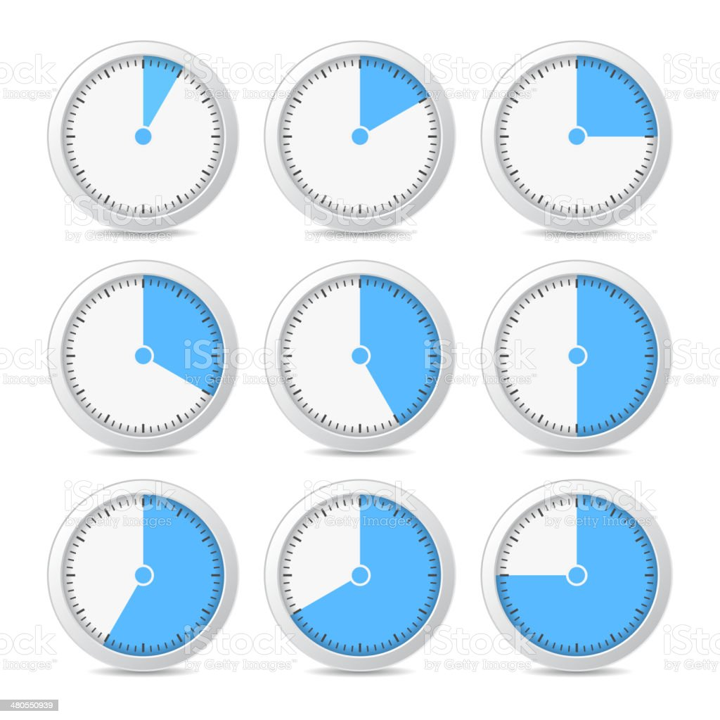 Timer Icons on White Background, Vector Illustration royalty-free stock vector art