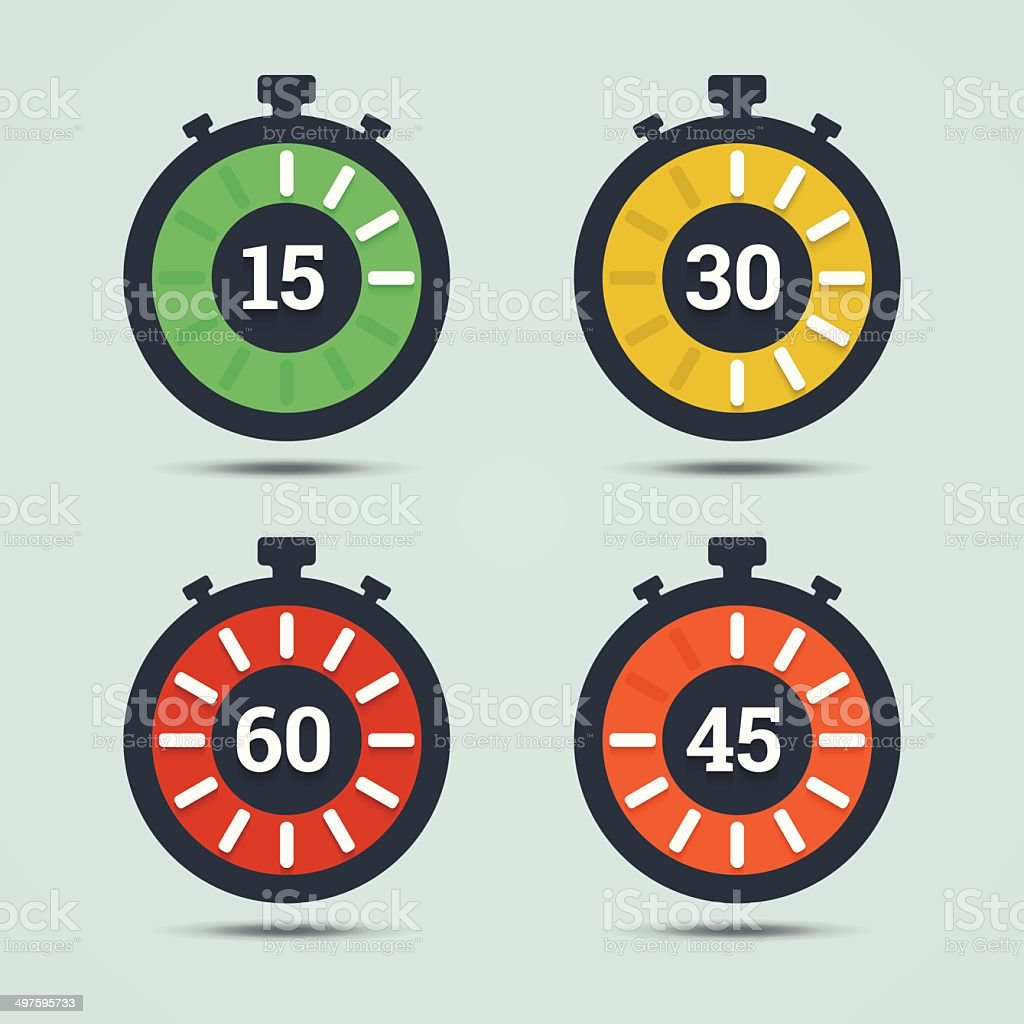 Timer icons with color gradation and numbers. vector art illustration