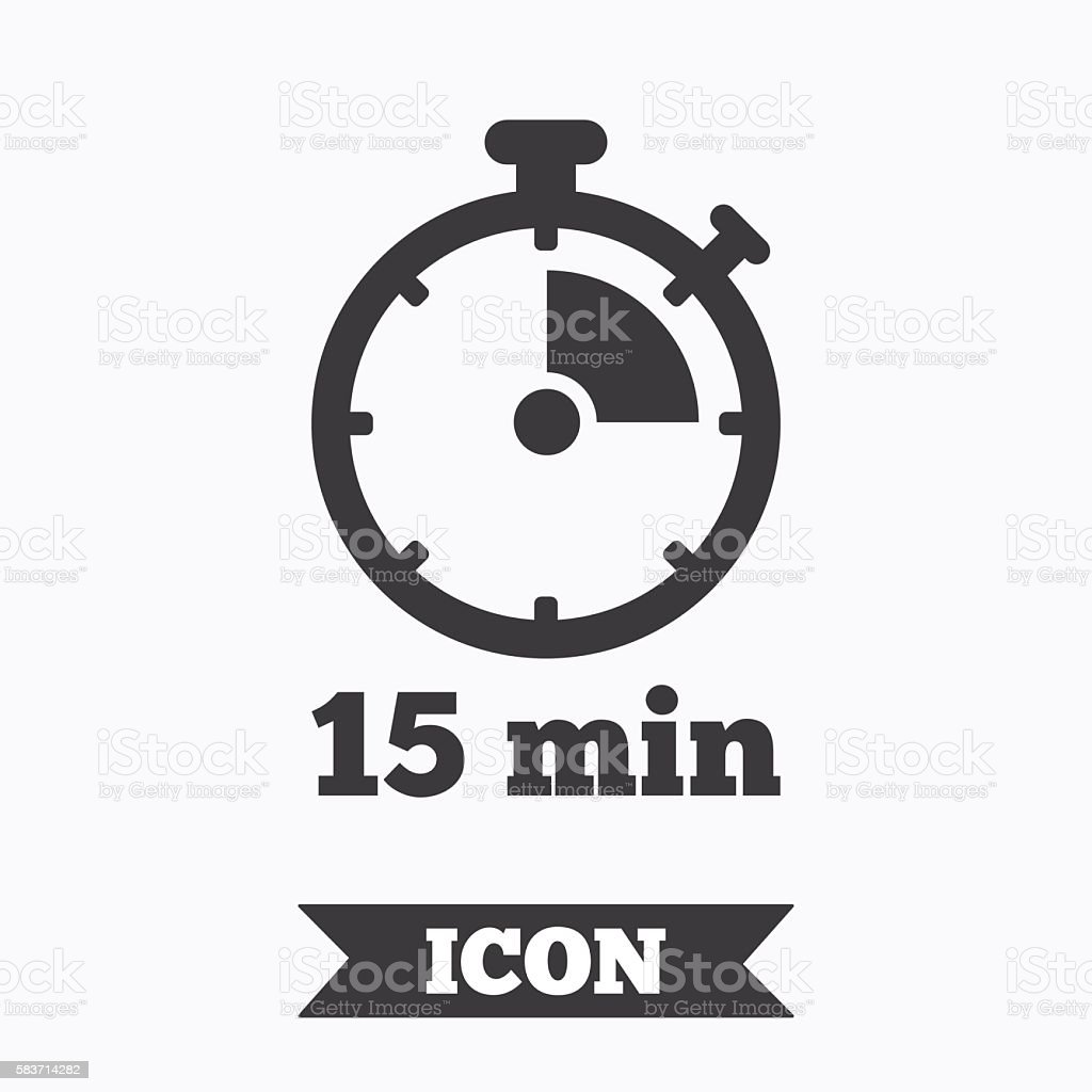 Timer sign icon. 15 minutes stopwatch symbol. vector art illustration