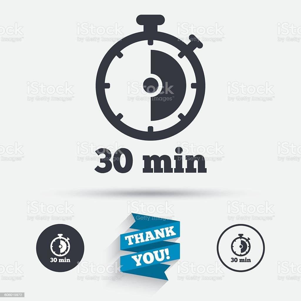 Timer sign icon. 30 minutes stopwatch symbol. vector art illustration