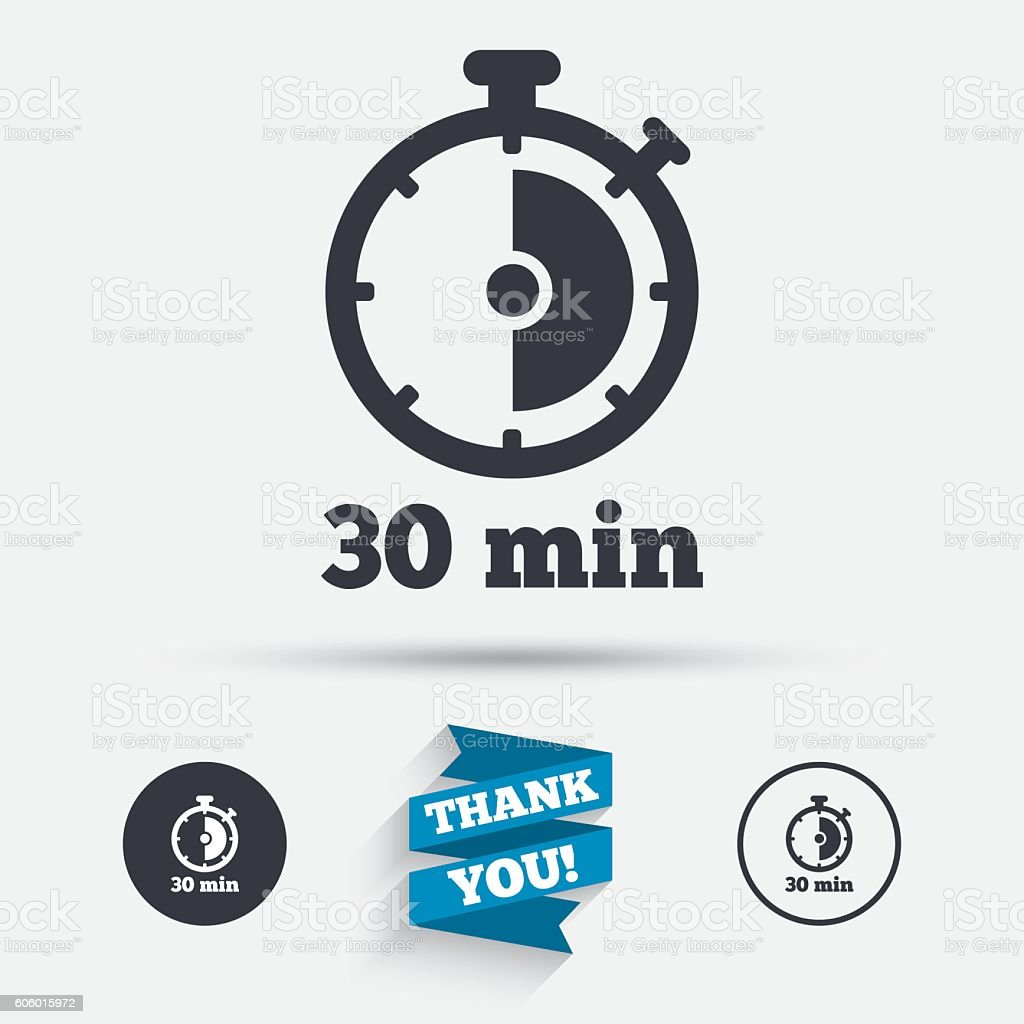 Timer sign icon. 30 minutes stopwatch symbol. vector art illustration