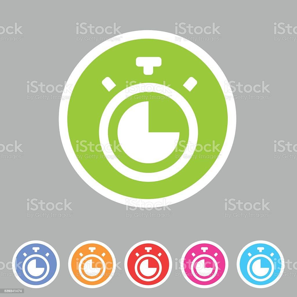 Timer, stopwatch clock icon flat web sign symbol logo label vector art illustration