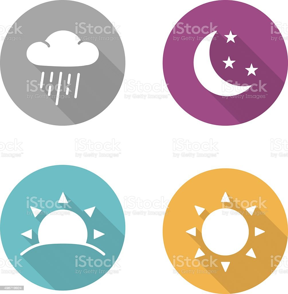 Times of day flat design icons set vector art illustration