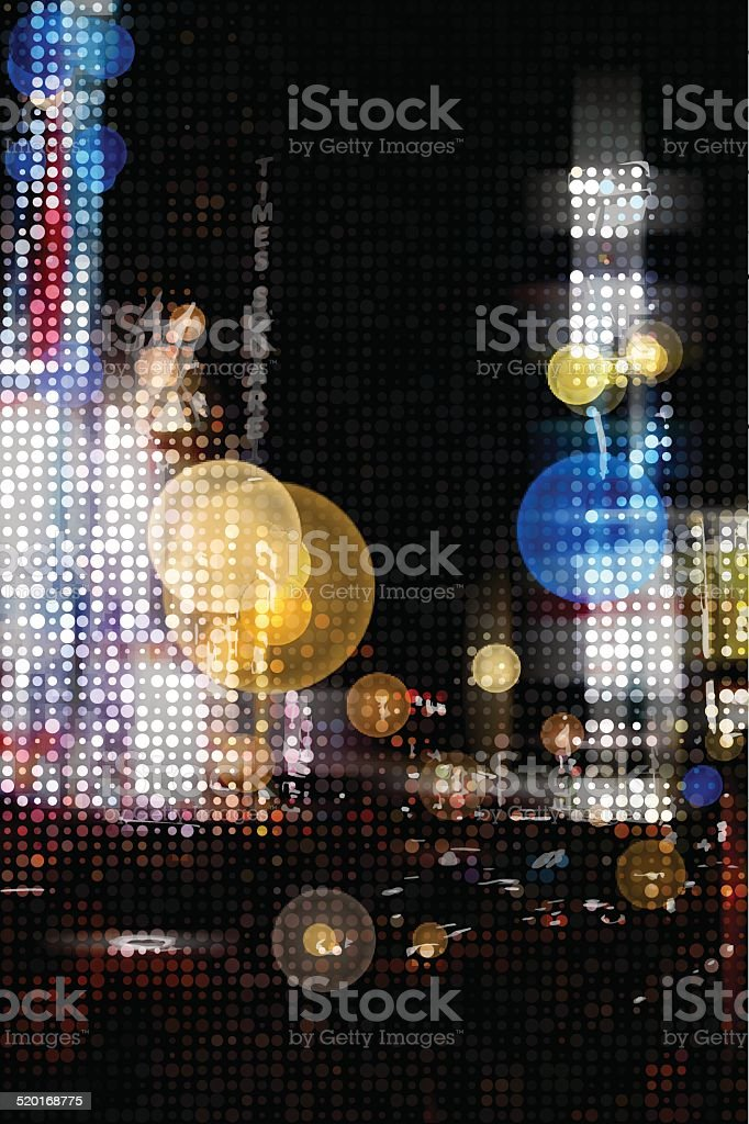 Times Square at Night vector art illustration