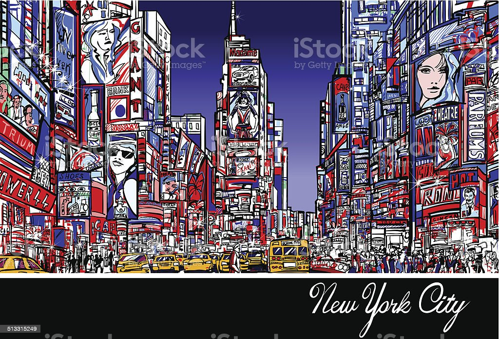 Times Square in New York at night vector art illustration