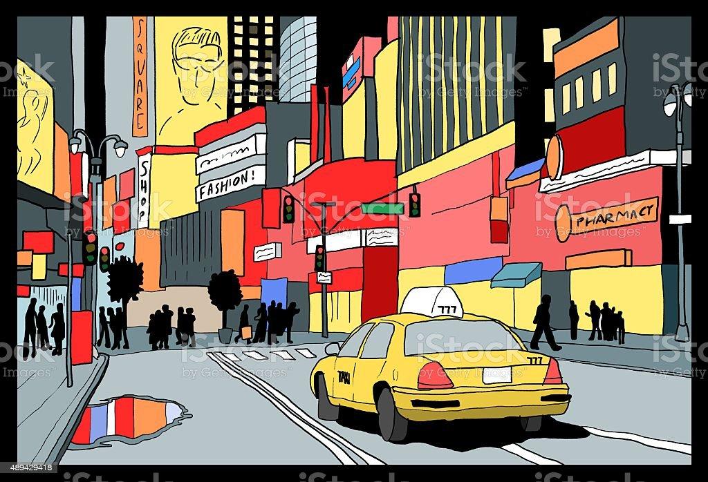 Times Square night vector art illustration