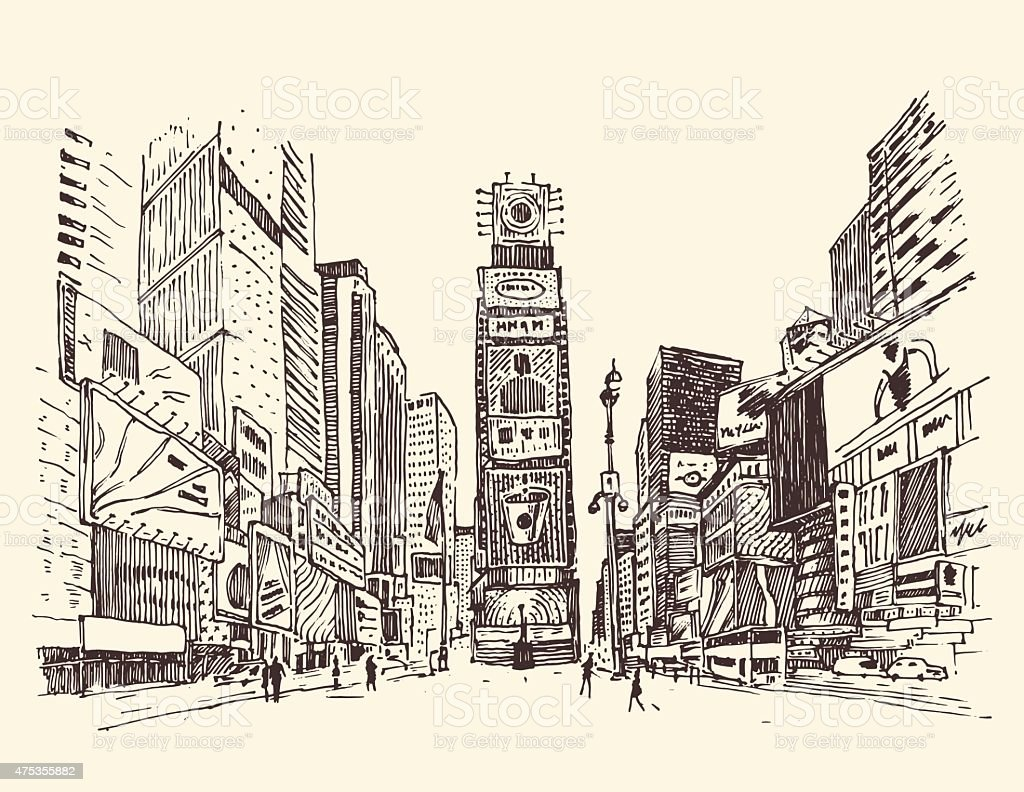 Times Square, street in New York city engraving vector illustration vector art illustration