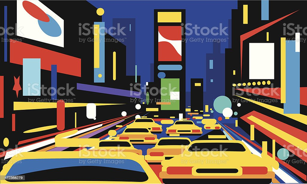 Times Square vector art illustration