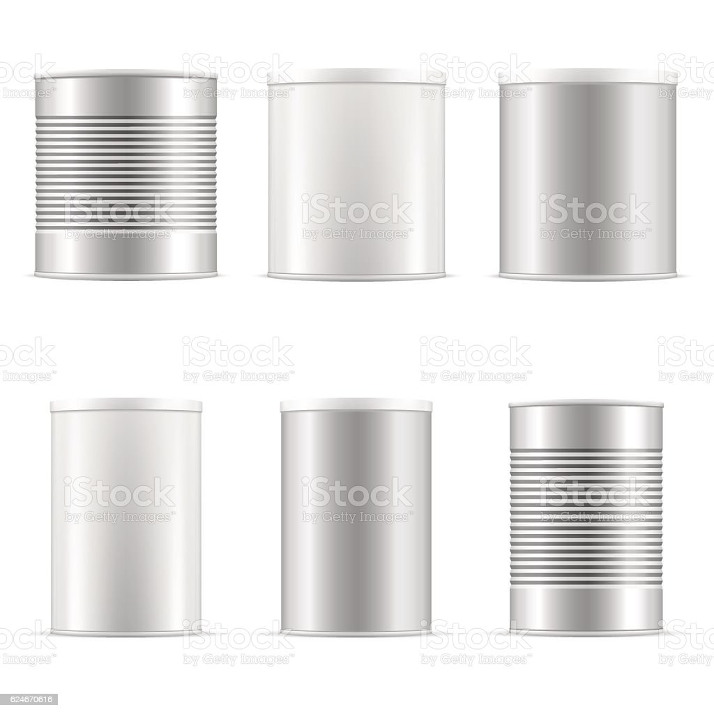 Tin can collection. White containers with plastic cap and metal. vector art illustration