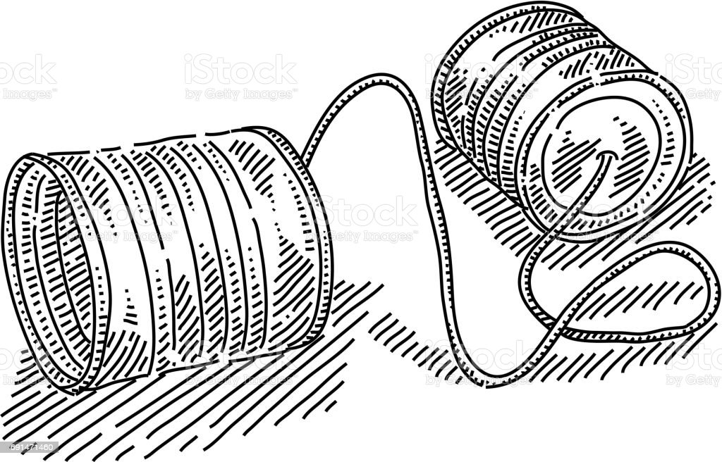 Tin can telephone Drawing vector art illustration