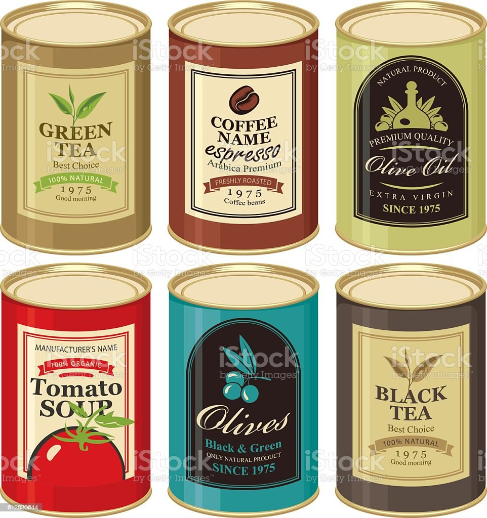 tin can with label of various canned foods vector art illustration