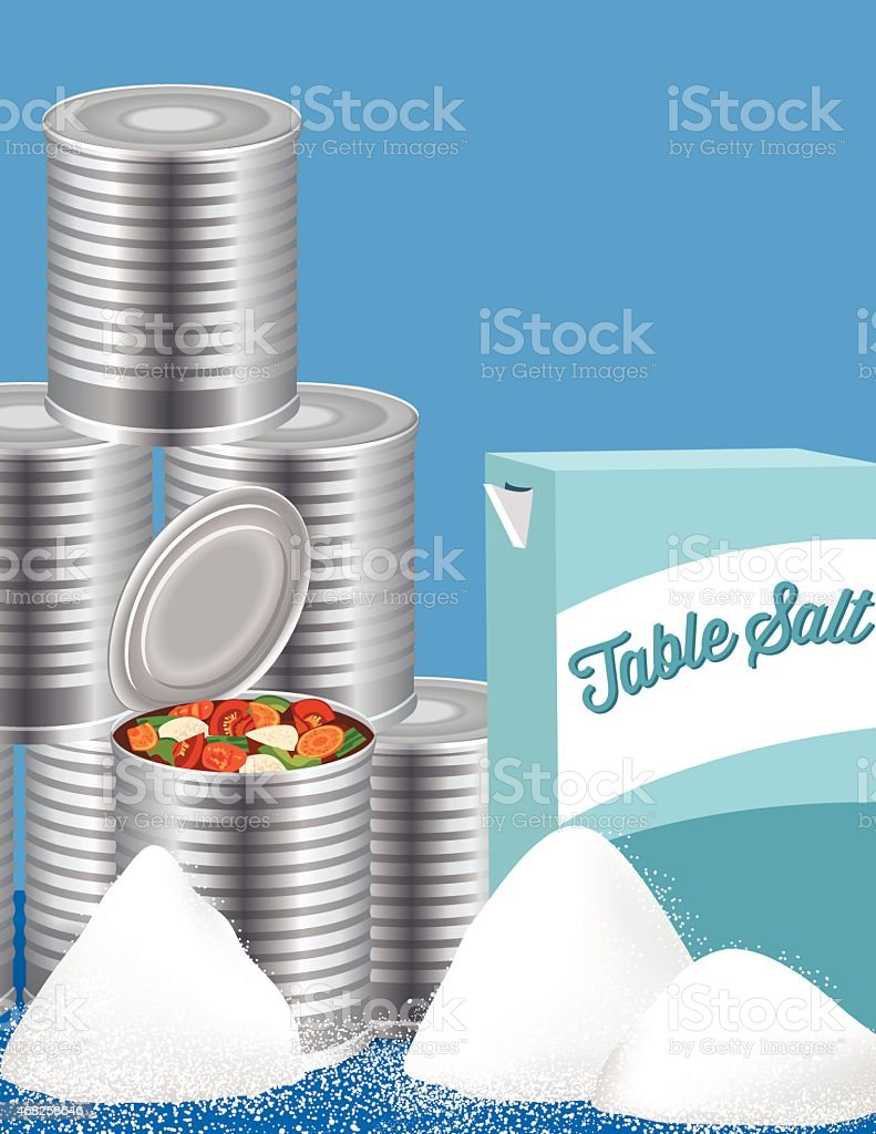 Tin Cans Of Vegetable Soup And Table Salt vector art illustration
