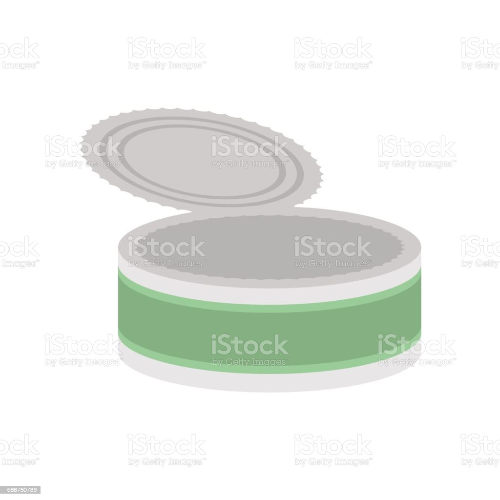 Tin empty open isolated. Can blank on white background vector art illustration
