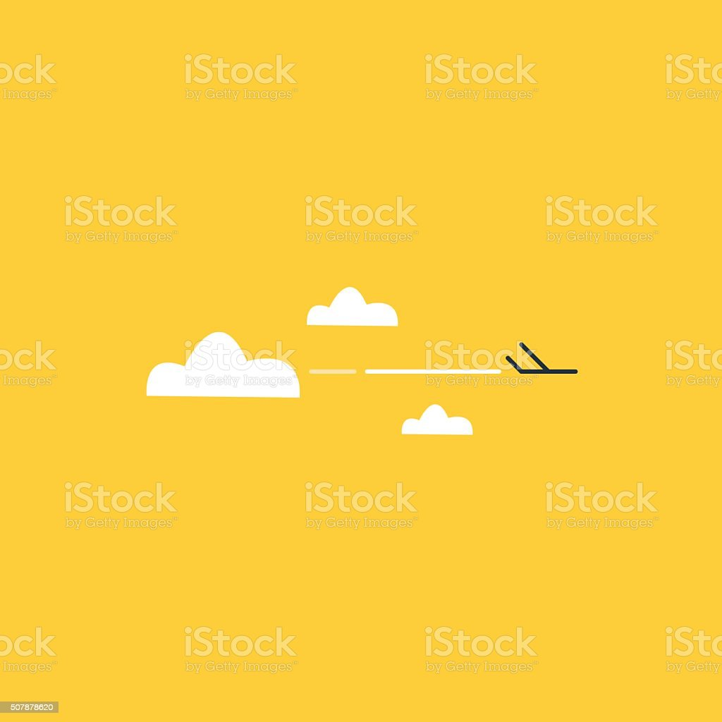 Tiny airplane high in the sky vector art illustration