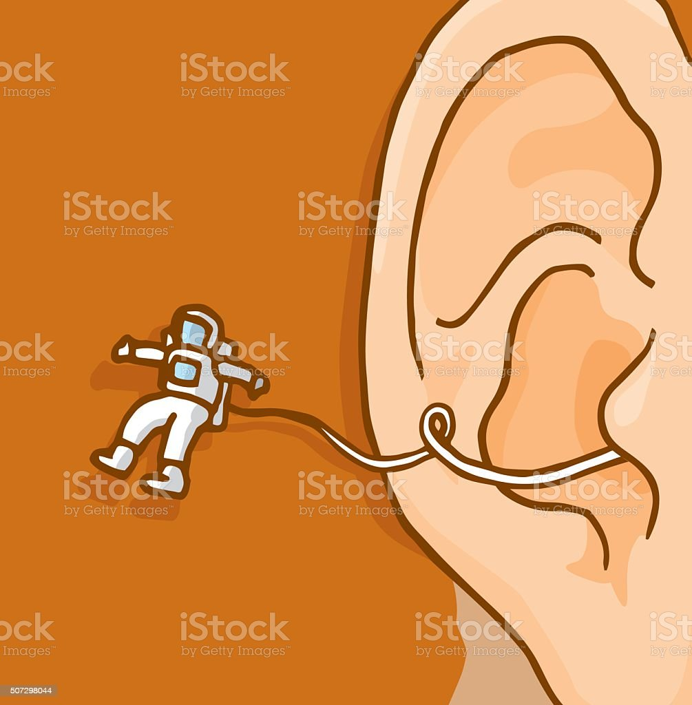 Tiny astronaut exploring floating out of human ear vector art illustration