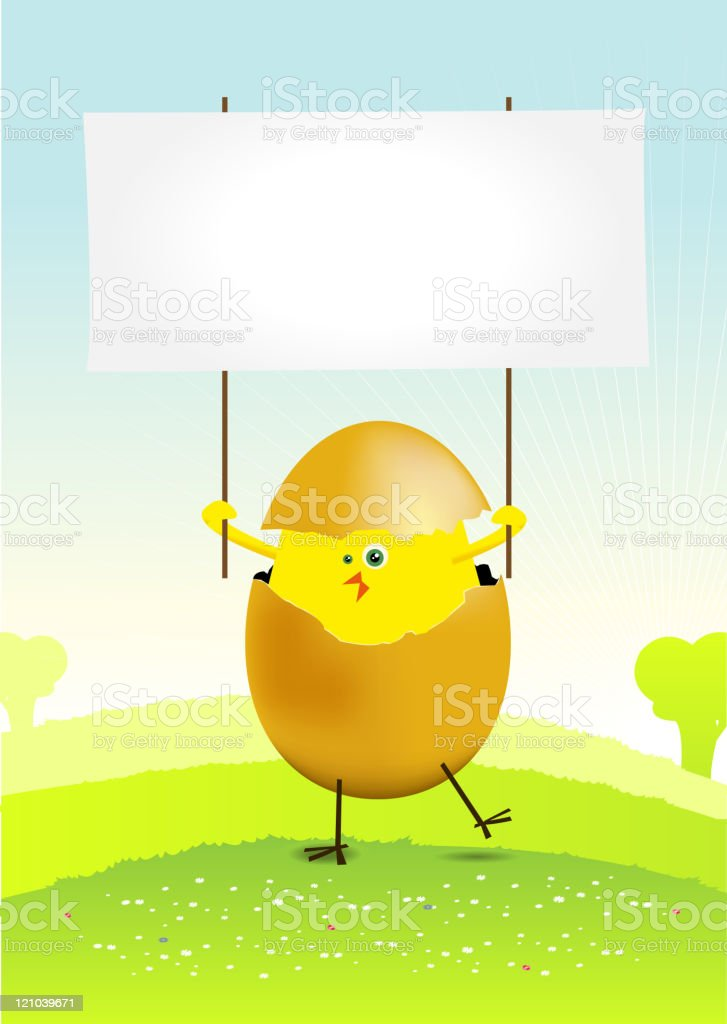 Tiny Easter Chicken in a spring landscape royalty-free stock vector art