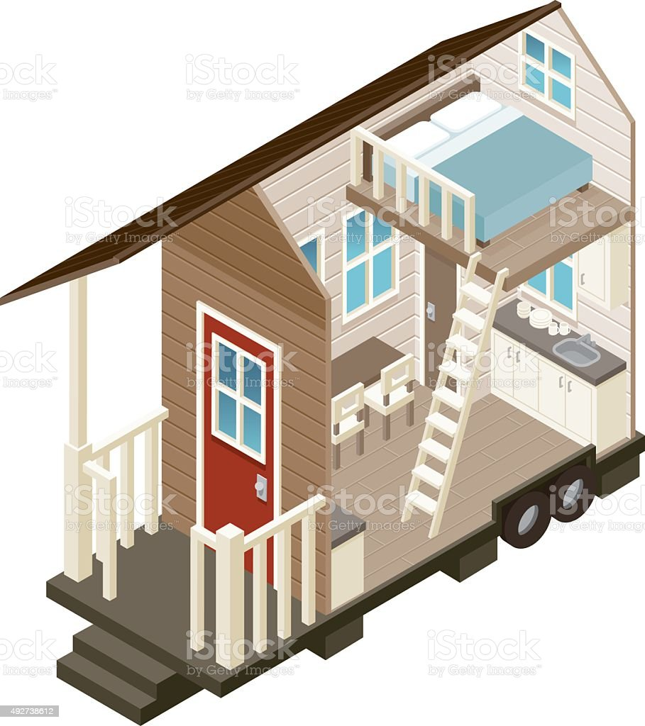 Tiny House Cross Section Isometric Icon vector art illustration