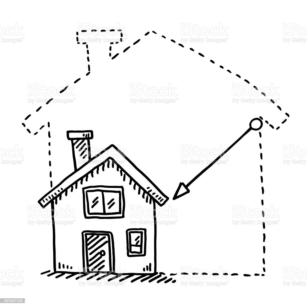 Tiny House Downsizing Concept Drawing vector art illustration