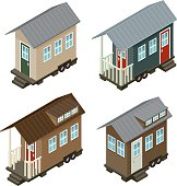 Tiny House Isometric Icon Set