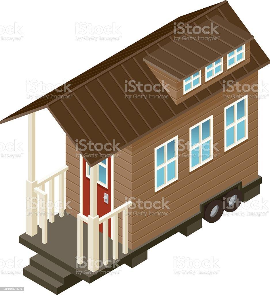Tiny House Isometric Icon vector art illustration