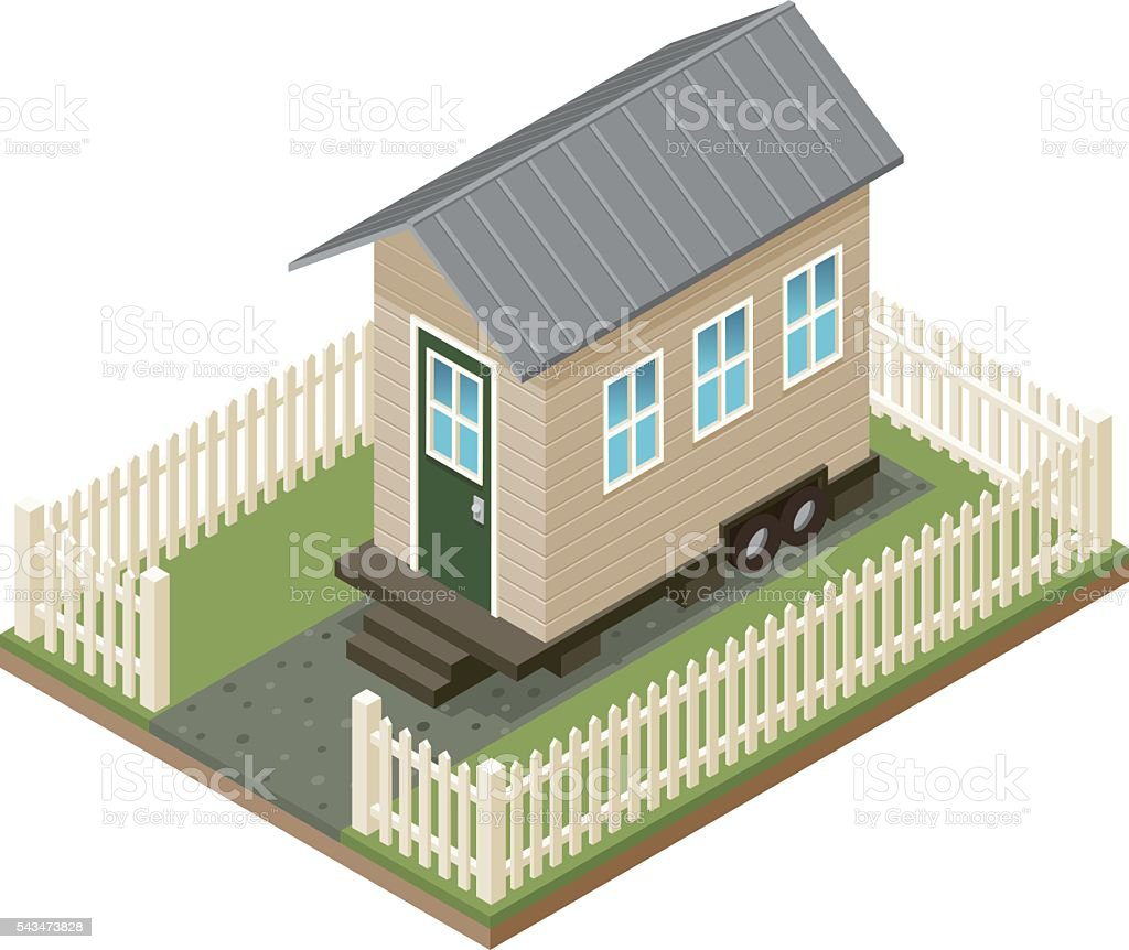 Tiny House Isometric Icon With Yard and Picket Fence vector art illustration