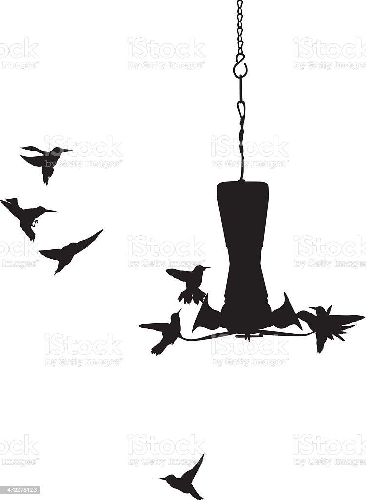 Tiny Hummingbirds surrounding a bird feeder vector art illustration