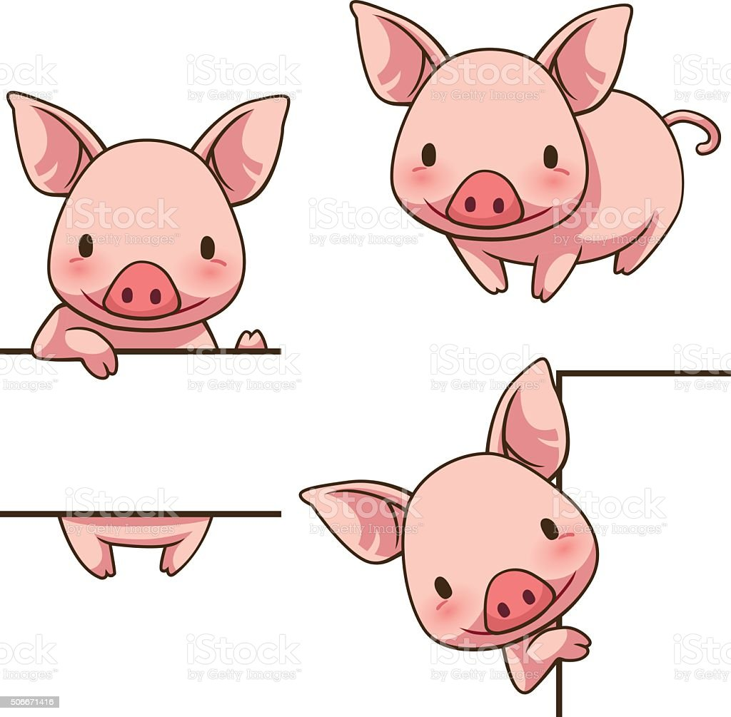 Tiny Piggy sign board vector art illustration
