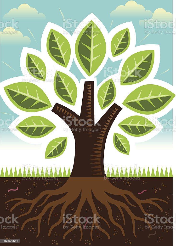 Tiny tree root scene royalty-free stock vector art