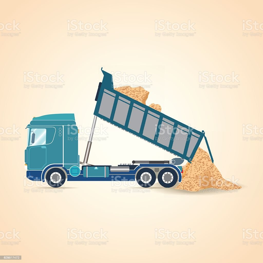 Tipper unloading. Vector illustration vector art illustration