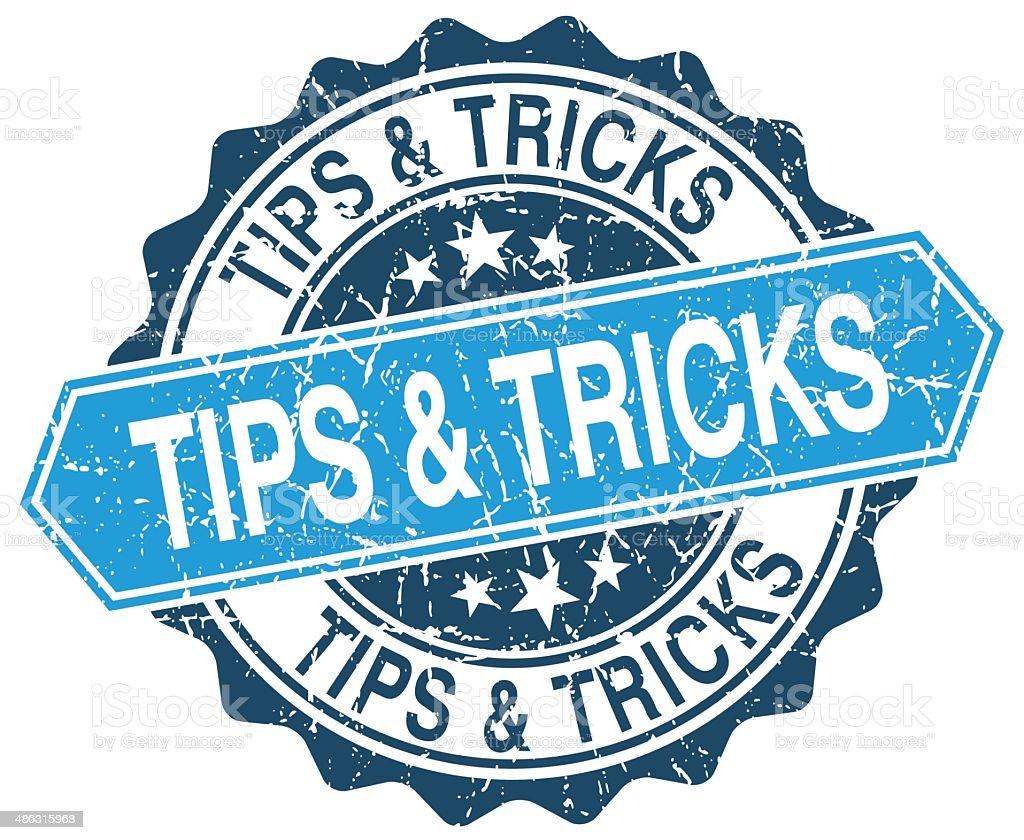 tips & tricks blue round grunge stamp on white vector art illustration
