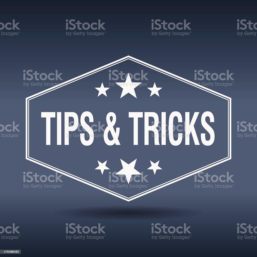 tips & tricks hexagonal white vintage retro style label vector art illustration