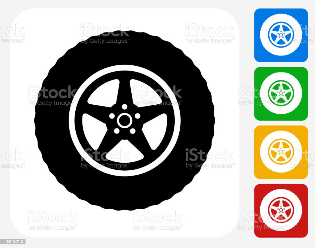 Tire Icon Flat Graphic Design vector art illustration