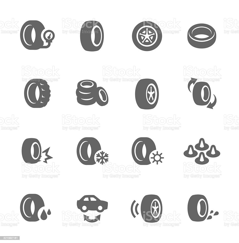 Tire Icons vector art illustration