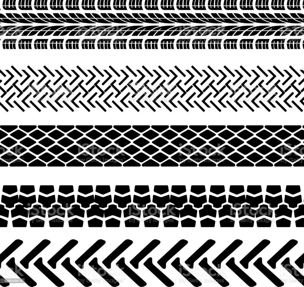 tire prints vector art illustration