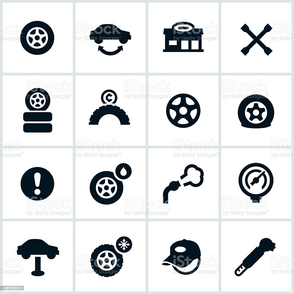 Tire Shop Icons vector art illustration