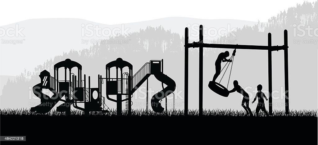 Tire Swing Child Play vector art illustration