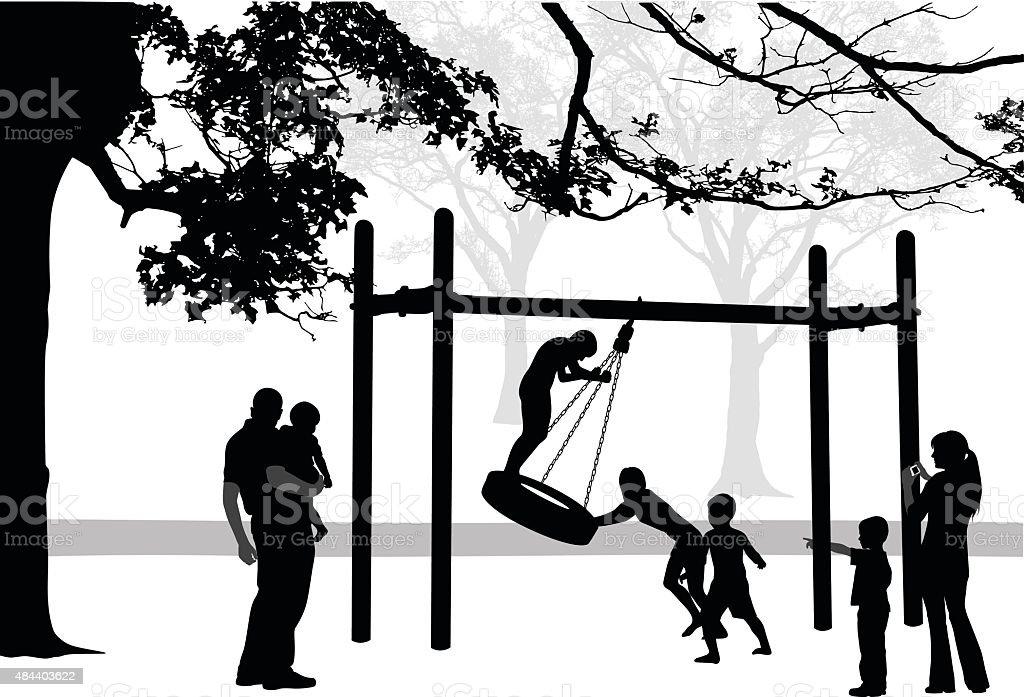 Tire Swing Family Fun vector art illustration