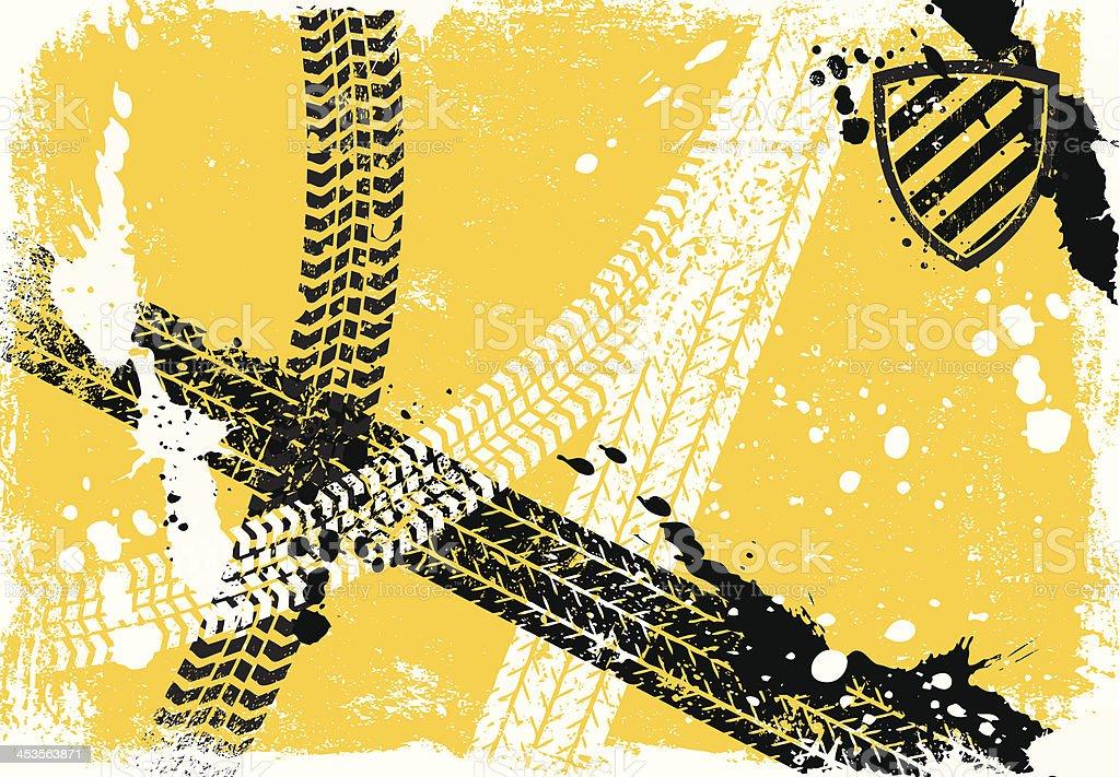 Tire Track Background vector art illustration