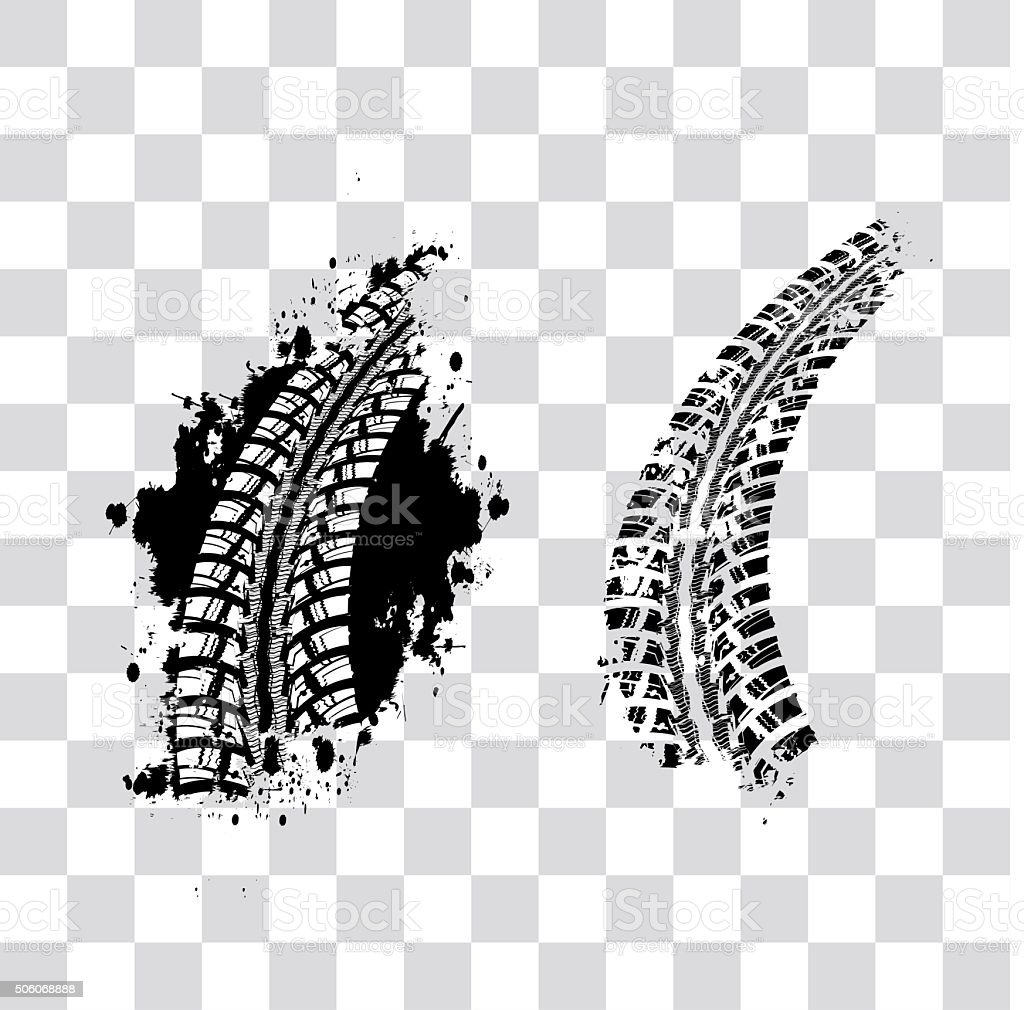 Tire track background vector art illustration