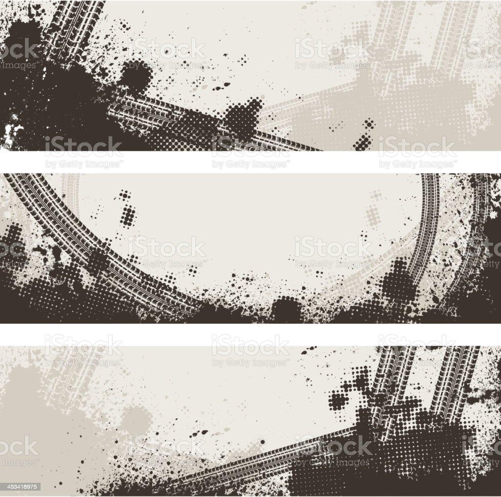 Tire track banners vector art illustration