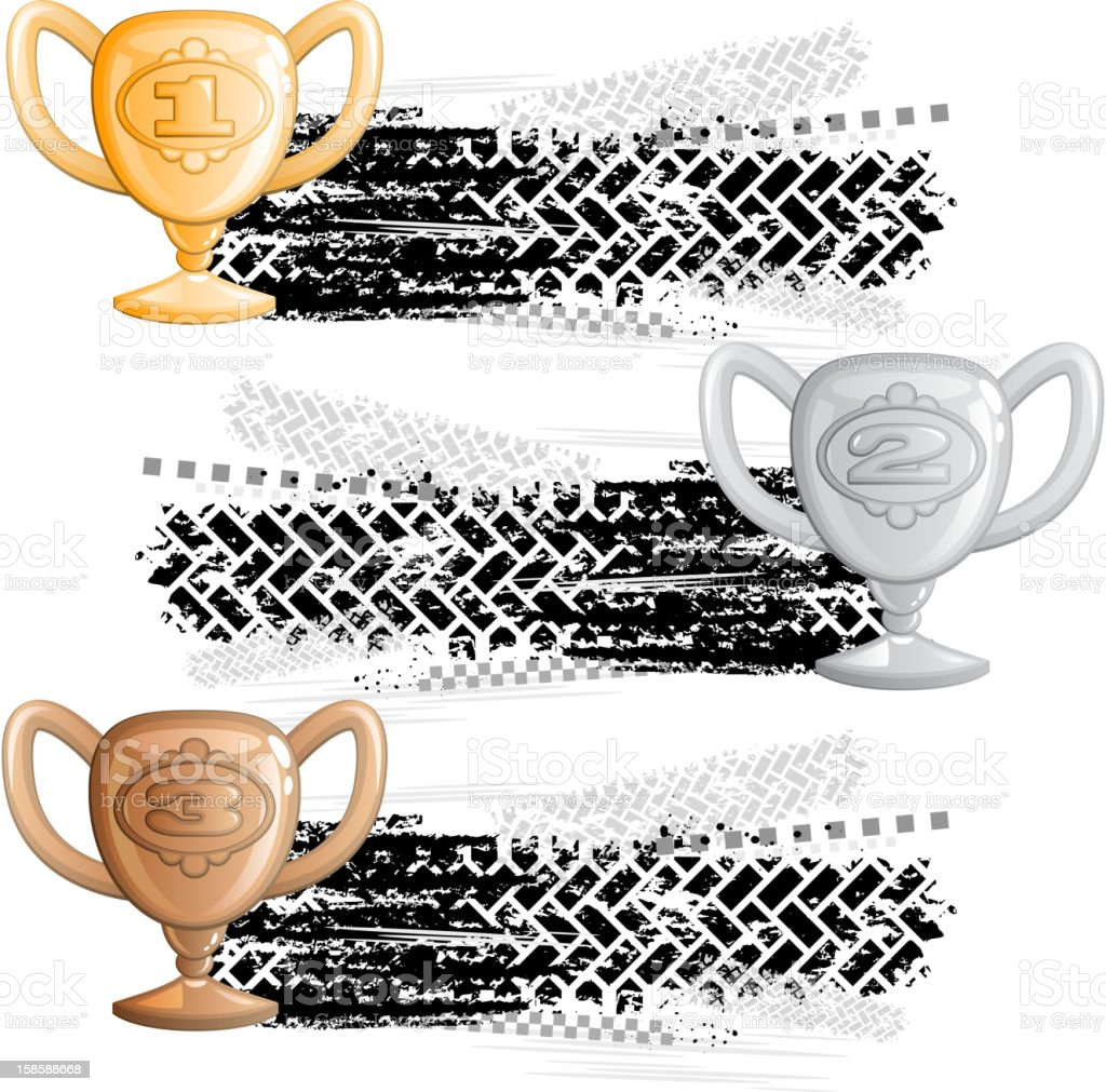 Tire track banners with cups royalty-free stock vector art