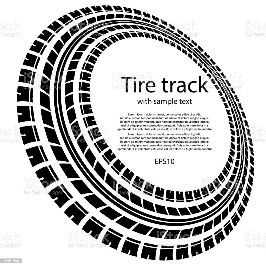 Tire track circles with text vector art illustration