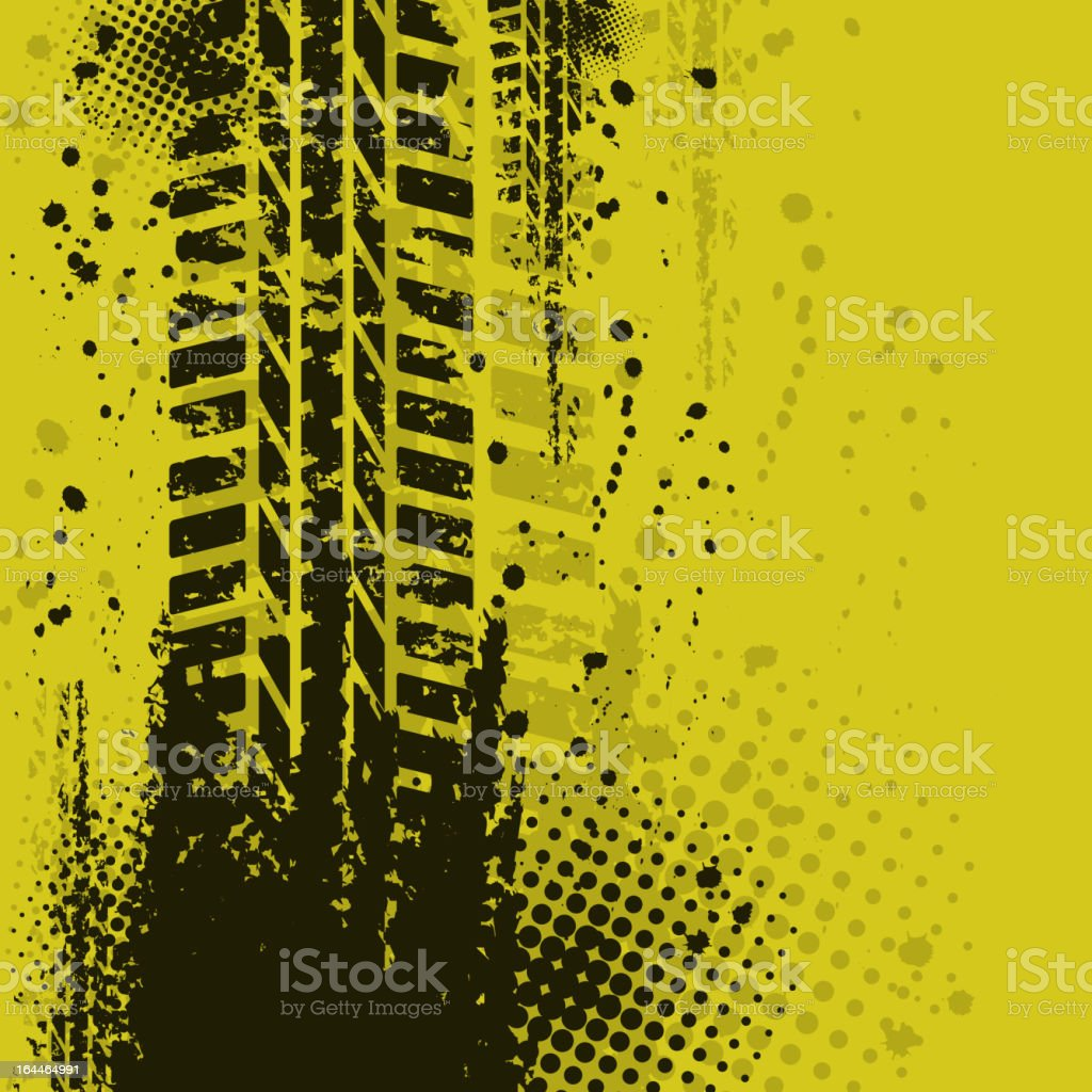 Tire track over a dirty yellow background  vector art illustration