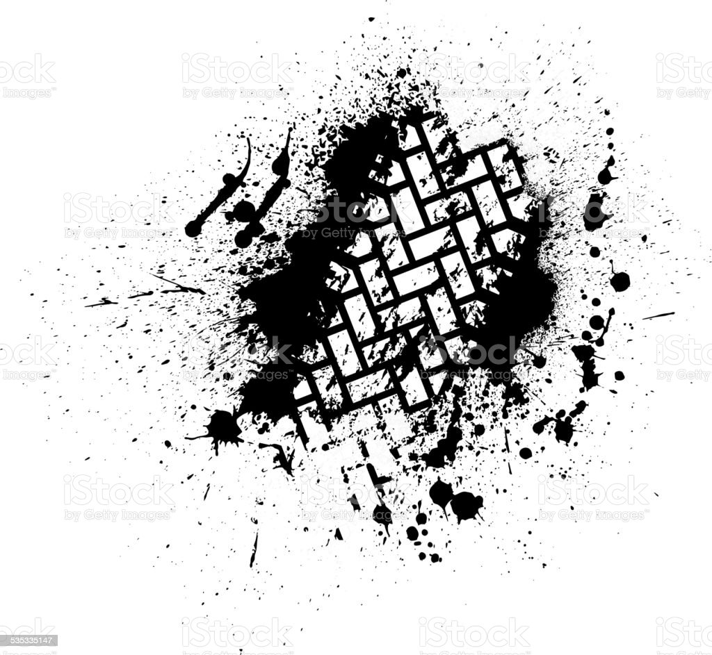Tire track with ink blots vector art illustration