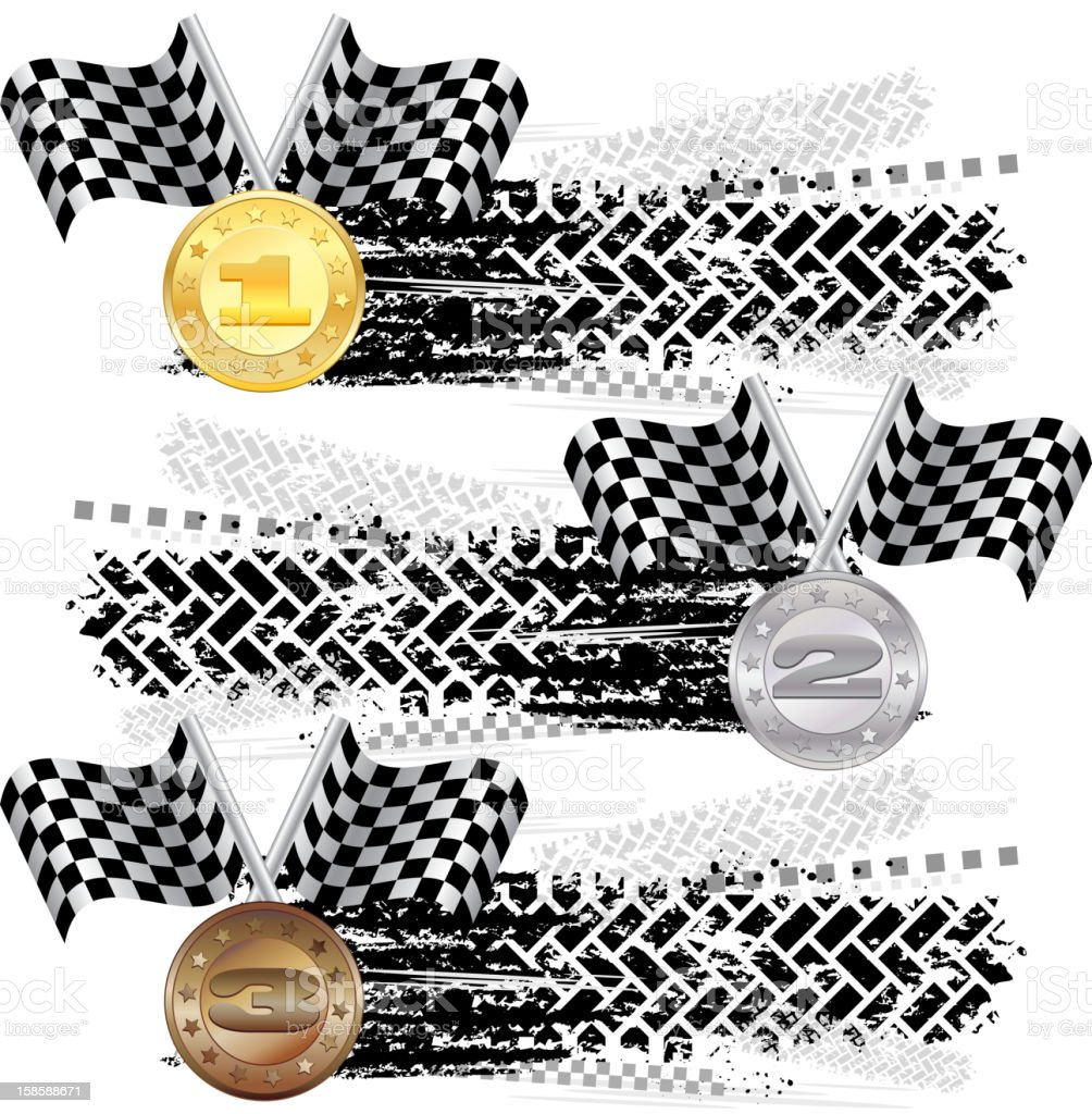 Tire track with medals royalty-free stock vector art