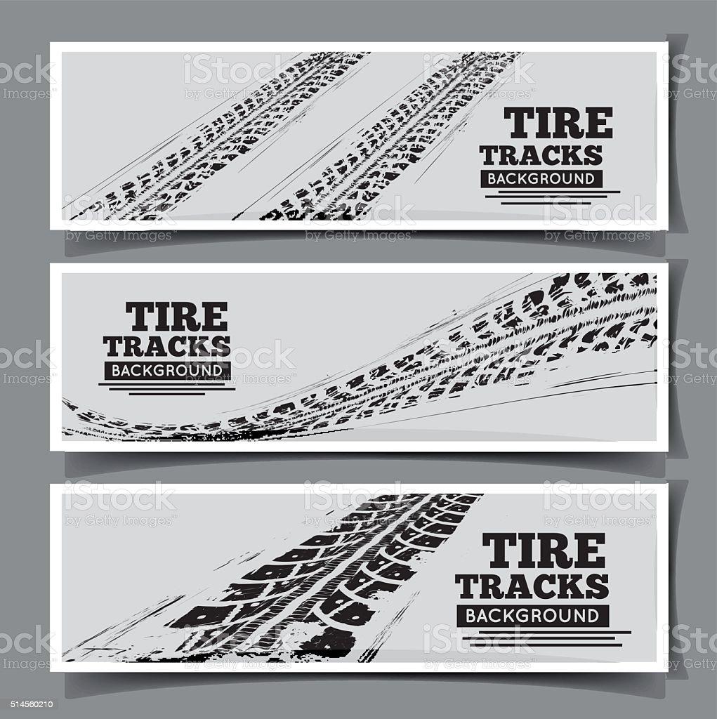 Tire tracks background vector art illustration