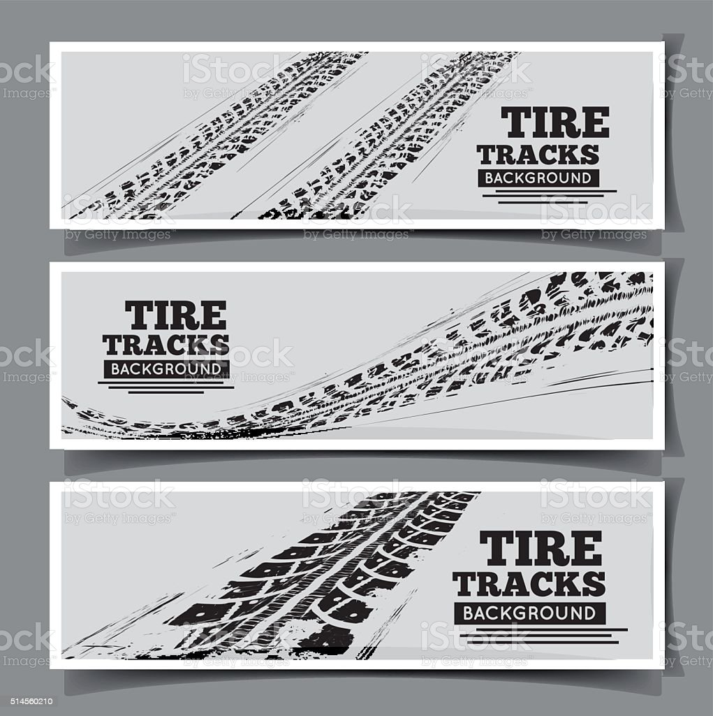 Tire tracks background vector art illustration