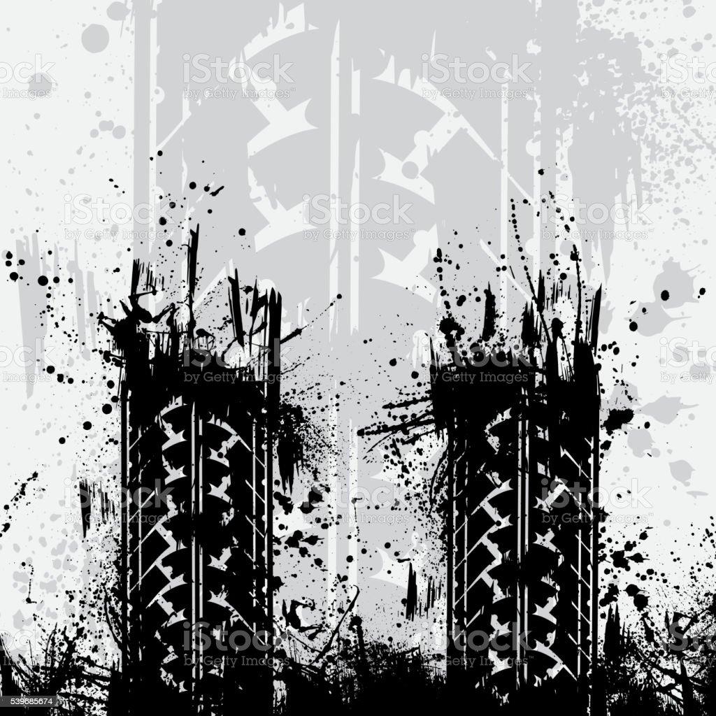 Tire tracks gray background vector art illustration